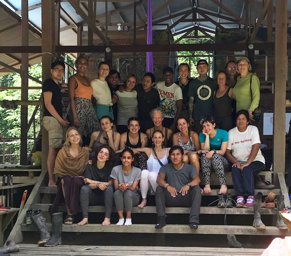 Retreat group in the Amazon jungle