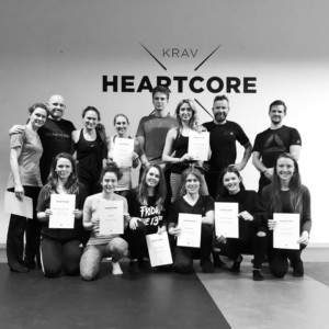 The Krav Maga course participants with their certificates.