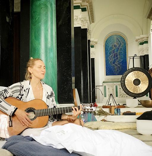 samantha claire singing during a deep meditation