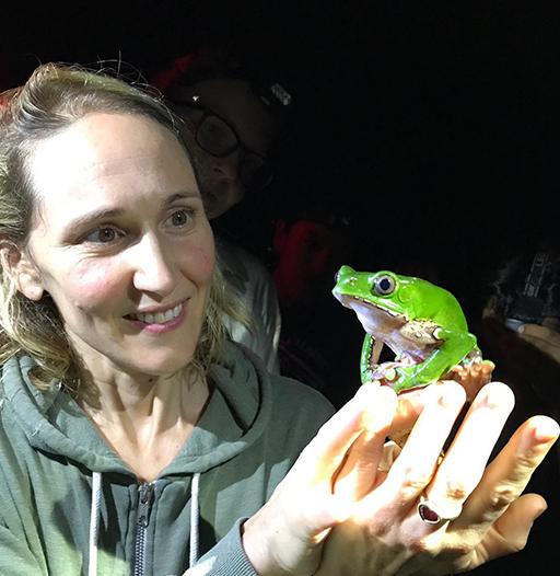 Samantha holding a giant monkey tree frog